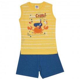 conjunto infantil masculino regata machao e bermuda moletinho amarelo azul jeans 510 9242