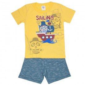 conjunto infantil masculino camiseta e bermuda moletinho amarelo petroleo 511 9244