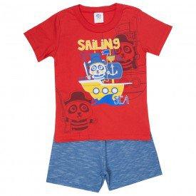 conjunto infantil masculino camiseta e bermuda moletinho vermelho azul jeans 511 9245