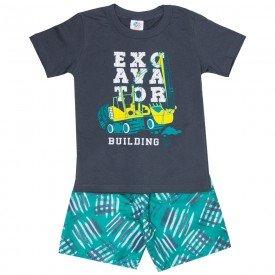 conjunto infantil masculino camiseta e bermuda tactel chumbo verde 509 9237