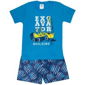 conjunto infantil masculino camiseta e bermuda tactel turquesa marinho 509 9238