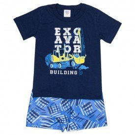 conjunto infantil masculino camiseta e bermuda tactel marinho azul 509 9240