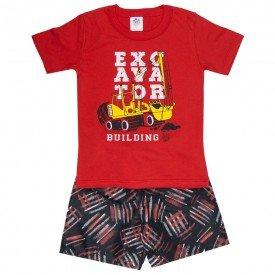 conjunto infantil masculino camiseta e bermuda tactel vermelho preto 509 9239