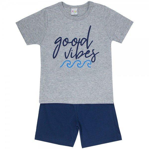 pijama infantil masculino good vibes mescla light marinho kw702 9414