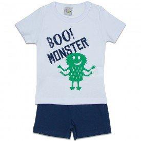 pijama infantil masculino monster branco marinho kw701 9409
