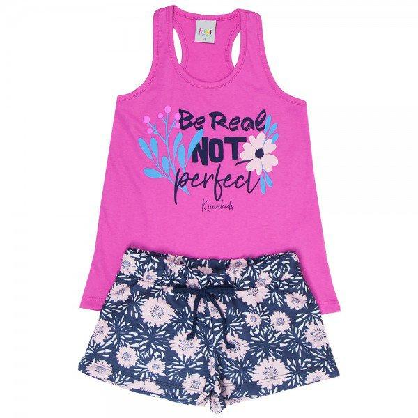 conjunto infantil feminino perfect pink marinho floral kw202 9397