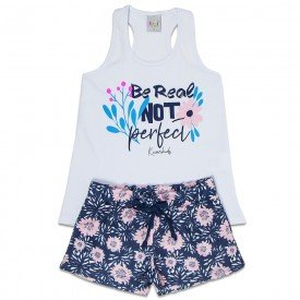 conjunto infantil feminino perfect branco marinho floral kw202 9396