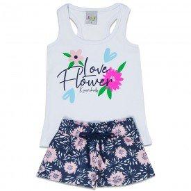 conjunto infantil feminino flower branco floral marinho kw102 9387