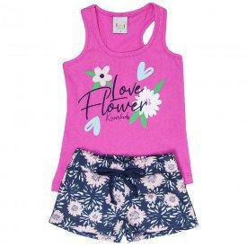 conjunto infantil feminino flower pink floral marinho kw102 9388