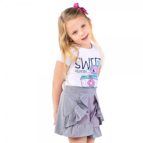 conjunto infantil feminino sweet branco mescla 161086 9445