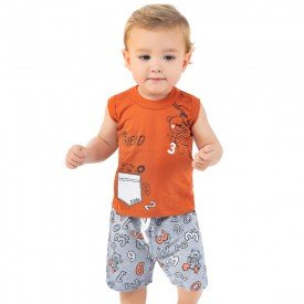 conjunto bebe menino friend laranja telha mescla 161010 9465