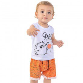 conjunto bebe menino regata machao e bermuda moletinho branco laranja telha 161011 9466