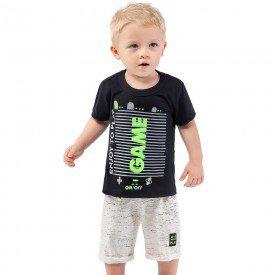 conjunto infantil masculino camiseta e bermuda game preto cru 161021 9479