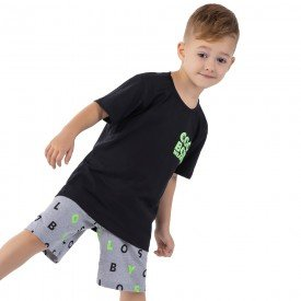 conjunto infantil masculino cool boys preto mescla 161035 9490