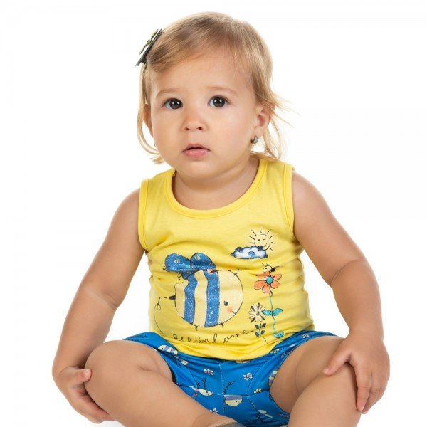 conjunto bebe menina regata e shorts amarelo azul 11594 9510