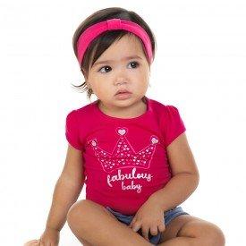 conjunto bebe menina blusa e shorts fabulous baby pink marinho 11596 9512