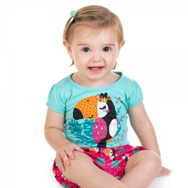 conjunto bebe menina blusa e shorts tropical verde agua pink 11598 9513