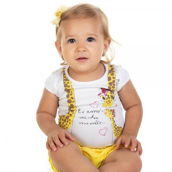 conjunto bebe menina blusa e shorts branco amarelo 11603 9516