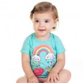 conjunto bebe menina bata e ciclista verde agua marfim 11604 9517