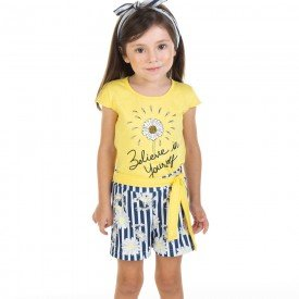 conjunto infantil feminino blusa e shorts margarida amarelo marinho 11613 9521