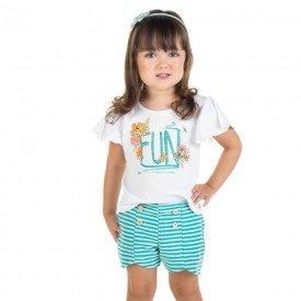 conjunto infantil feminino blusa e shorts fun branco esmeralda 11614 9522