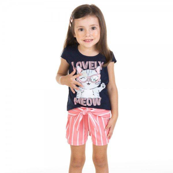 conjunto infantil feminino blusa e shorts meow marinho coral 11619 9524
