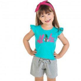 conjunto infantil feminino blusa e shorts aloha esmeralda mescla 11624 9526