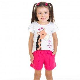 conjunto infantil feminino blusa e shorts girafinha branco pink11625 9528