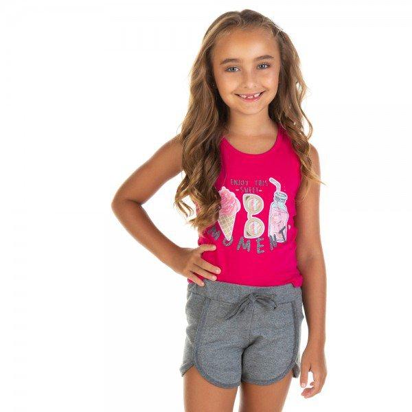 conjunto infantil feminino regata e shorts moment pink mescla dark 11637 9531