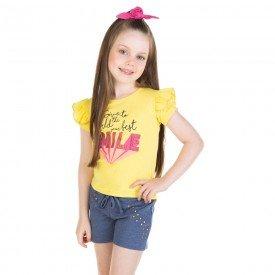 conjunto infantil feminino blusa e shorts smile amarelo azul 11650 9532