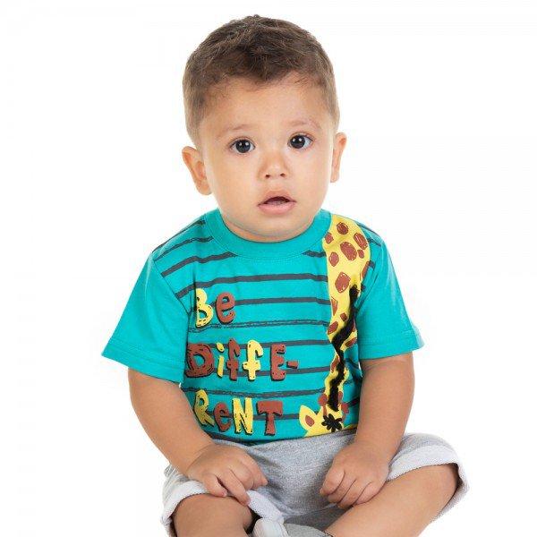conjunto bebe menino camiseta e bermuda saruel esmeralda mescla 11672 9539