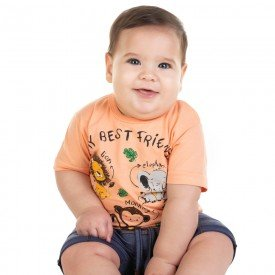 conjunto bebe menino camiseta e bermuda saruel salmao jeans marinho 11677 9544