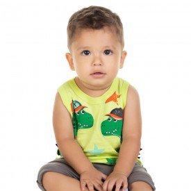 conjunto bebe menino regata e bermuda saruel amarelo carambola cinza 11679 9546