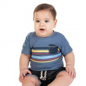 conjunto bebe menino camiseta e bermuda saruel azul preto 11680 9548