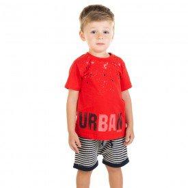 conjunto infantil masculino camiseta e bermuda saruel vermelho marinho 11688 9553