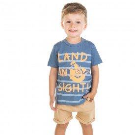 conjunto infantil masculino camiseta e bermuda saruel azul escuro areia 11694 9555