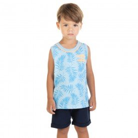 conjunto infantil masculino regata e bermuda azul claro marinho 11696 9557