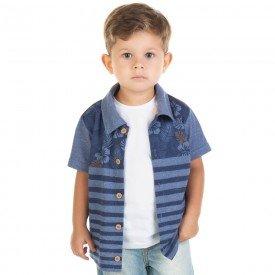 camisa infantil masculina piquet mouline azul 11698 9560