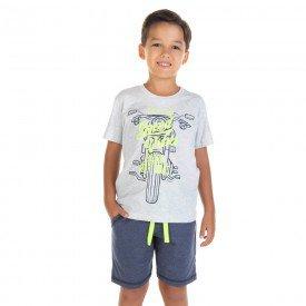 conjunto infantil masculino camiseta e bermuda speed vibe mescla gelo marinho 11707 9567
