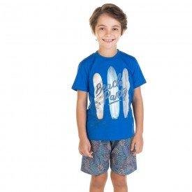 conjunto infantil masculino camiseta e bermuda beach party azul royal azul escuro 11710 9570
