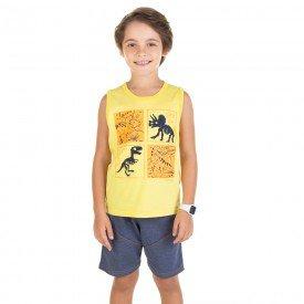 conjunto infantil masculino regata e bermuda amarelo marinho 11712 9572