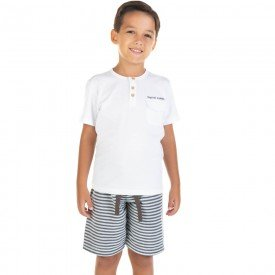 conjunto infantil masculino camiseta e bermuda branco cinza 11719 9576