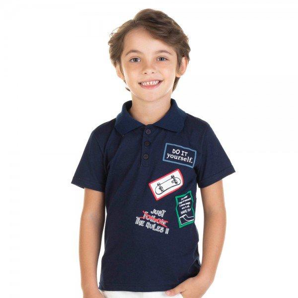 camisa infantil masculina polo marinho 11722 9577