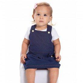 jardineira bebe menina cotton jeans marinho 22017 9690