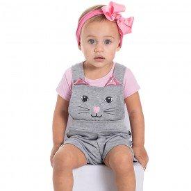 jardineira bebe menina moletinho gatinho mescla 22020 9691
