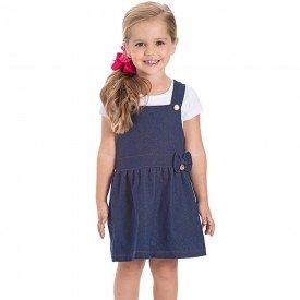 jardineira infantil feminina cotton jeans marinho 22136 22231 9692