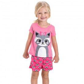 pijama infantil feminino guaxinim rosa pink 22149 9694