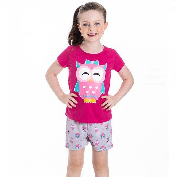 pijama infantil feminino coruja pink cinza 22244 9698