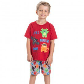 pijama infantil masculino monsters vermelho cinza 22241 9716