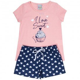 pijama infantil feminino sweet rose coracoes marinho kw300 9392